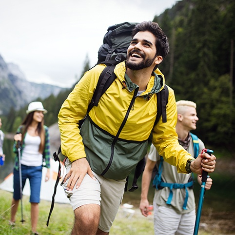 Group of friends hiking together free from elbow tendinitis